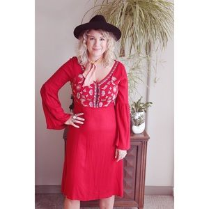 NTW red floral embroidery dress